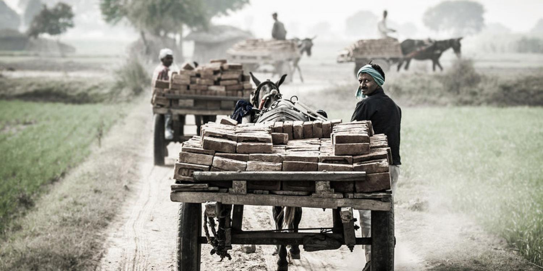A cart leaving a brick kiln. Credit/Copyright - Richard Dunwoody MBE