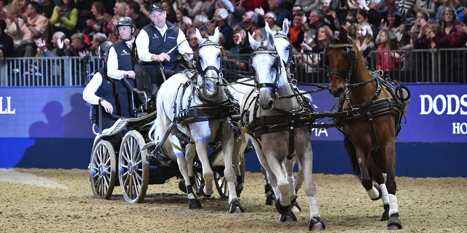 Carriage and four galloping horses at Olympia arena