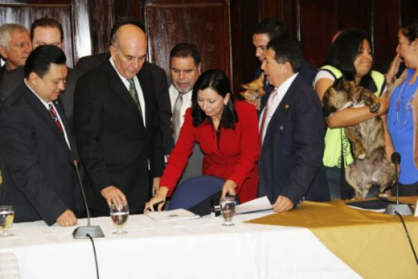 President of the congress receiving the animal welfare law initiative