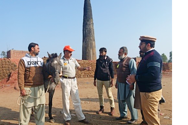 Veterinarian with donkey and community members in Pakistan