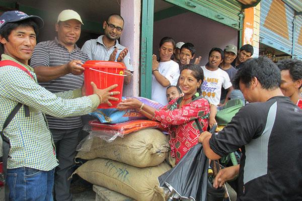 Helping out after the earthquake