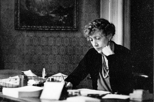 Dorothy Brooke at her desk in Salisbury