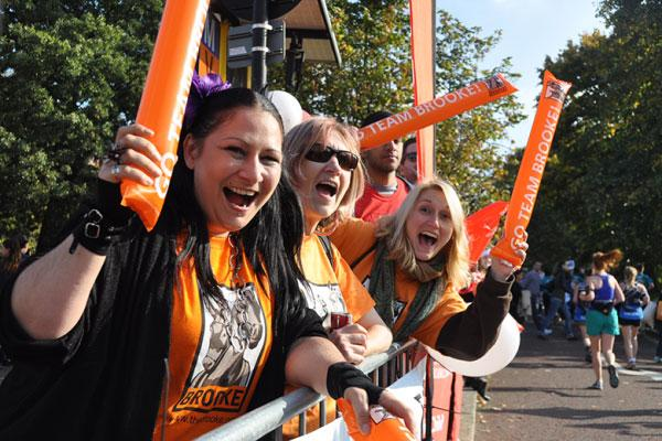 Volunteers cheering our runners at the Royal Parks Half Marathon