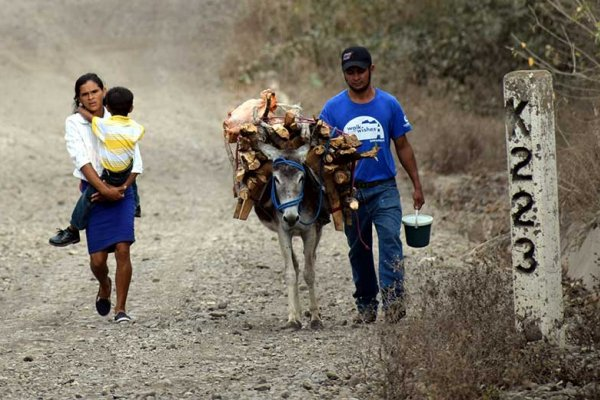 A family with their donkey in Nicaragua
