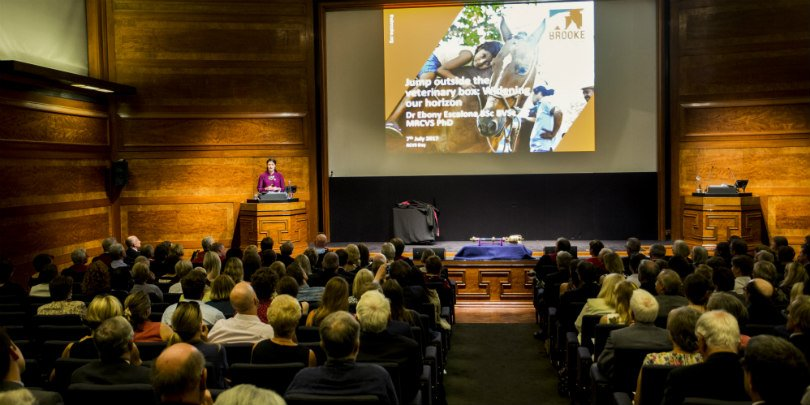 Brooke vet Dr Ebony Escalona speaking at Royal College of Veterinary Surgeons Day