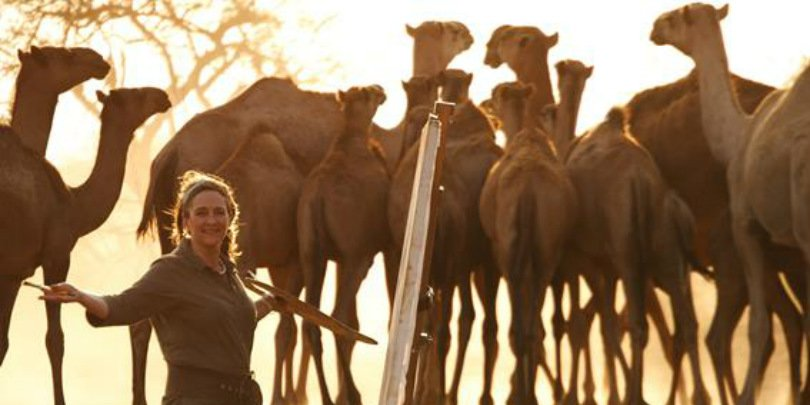 Sophie Walbeoffe with her camels