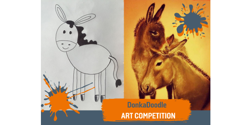 Donkey drawing and horse painting for art competition