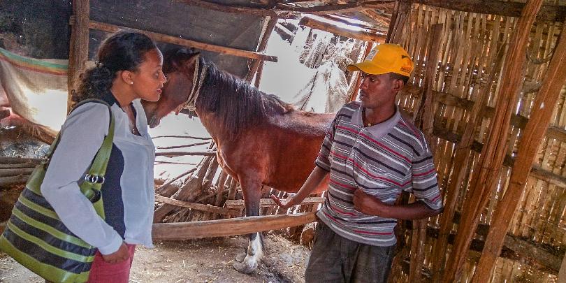 Nardos Eshetu with man and horse