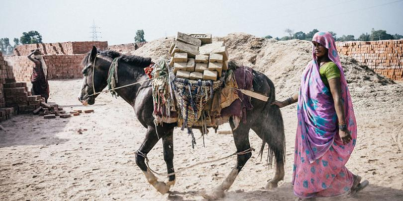 Woman with her horse at Lucknow Brick Kiln, India