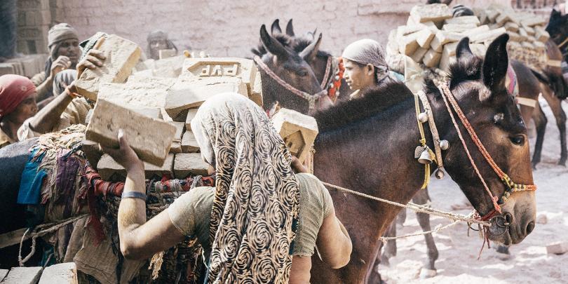 Loading brick on a horse
