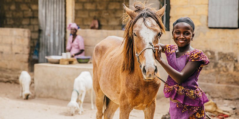 A young woman with her horse