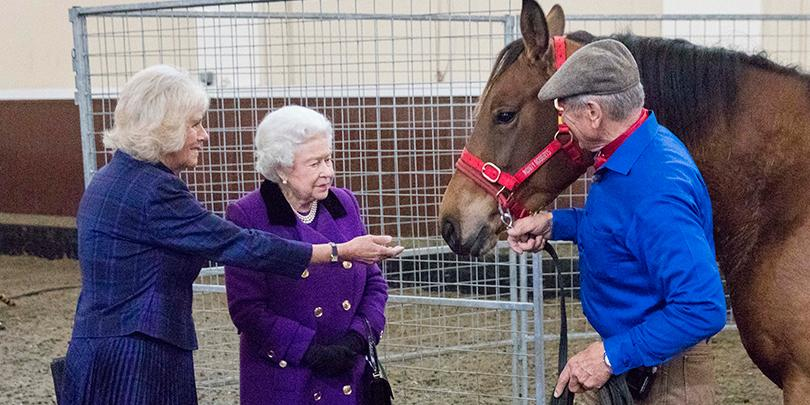 Her Majesty The Queen and Duchess of Cornwall meet Brooke ambassador Monty Roberts at our event at the Royal Mews in 2015