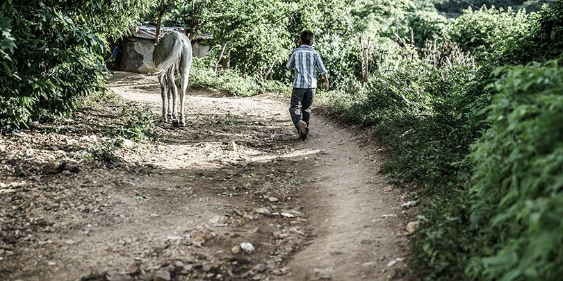 Boy with horse walking down a track in Guatemala