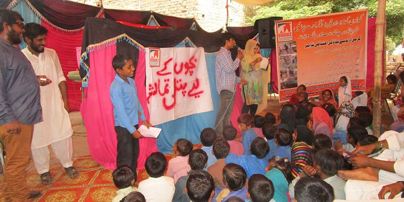 Children taking part the puppet show