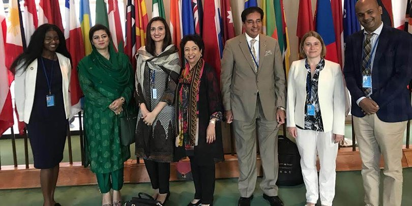 Brooke meeting with former Ambassador for Pakistan to the UN and her Counsellors.