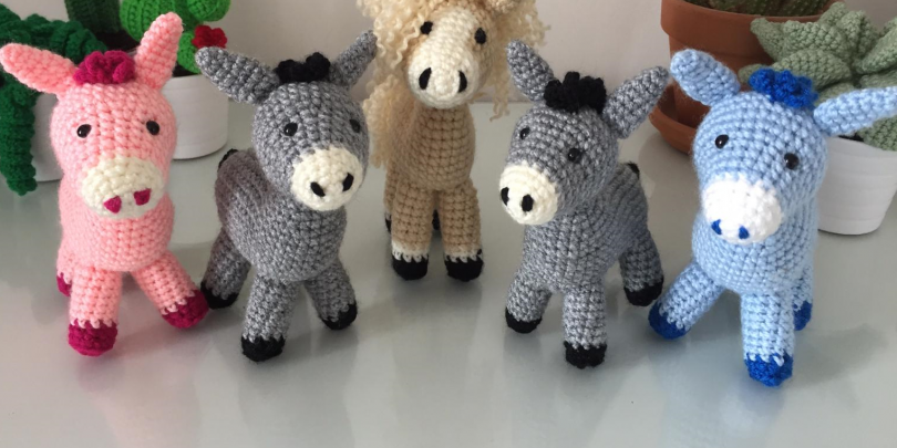Knitted and crochet donkeys