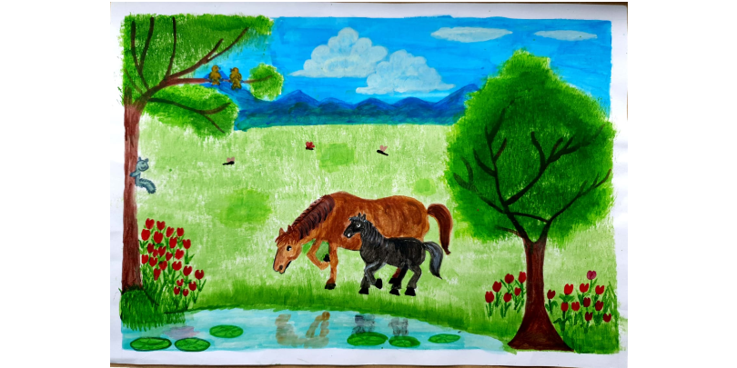 'MY LOVE FOR HORSES' by Yashitha, age 10 (under 12 category)