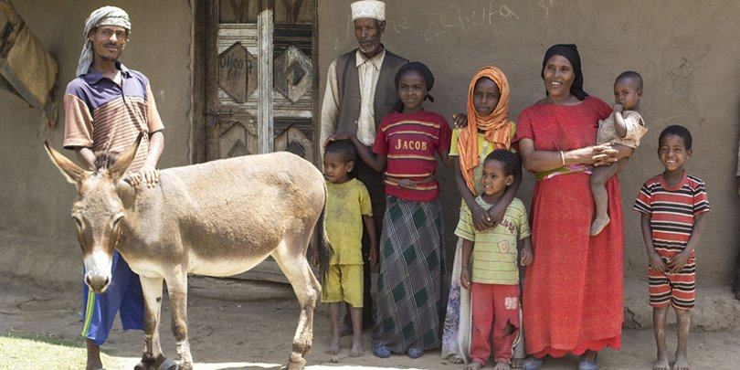 A family with their donkey