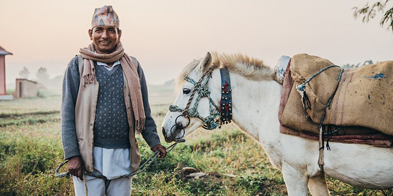 Man and horse in Nepal