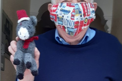 Bob receives a knitted donkey