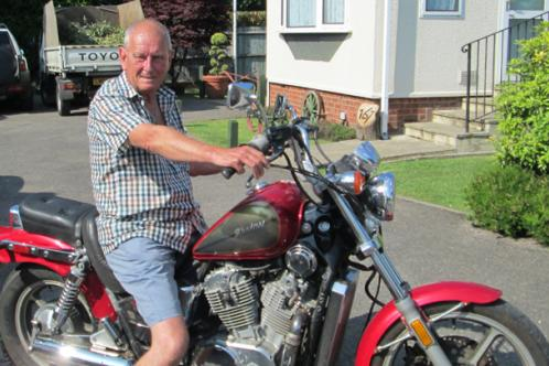 Alan Joseph on his motorbike