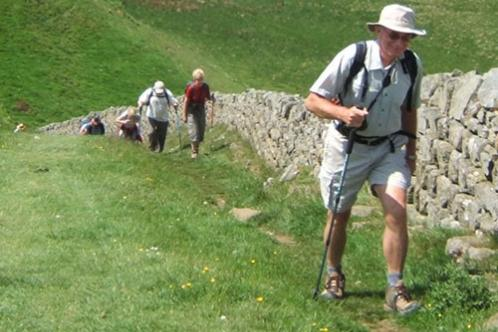 Supporters walking Hadrian's Wall