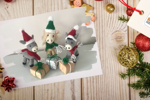 Knitted donkey Christmas crafts