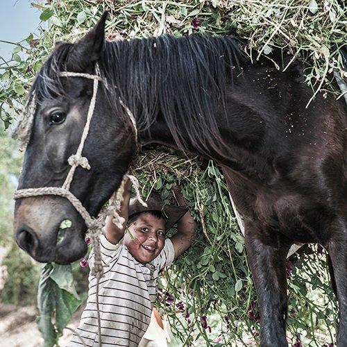 Boy an horse in Guatemala, by Richard Dunwoody