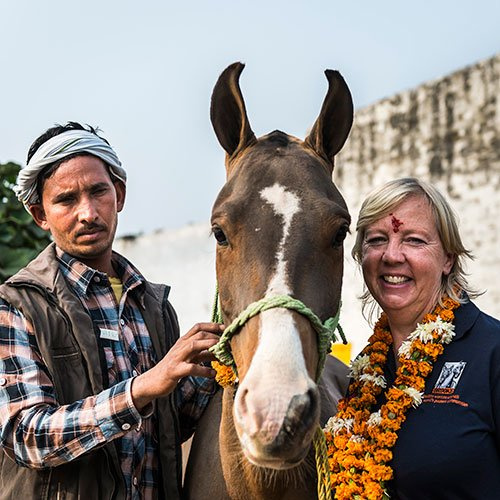 Deborah Meaden meeting an owner in India