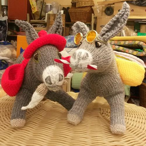 Two knitted donkeys