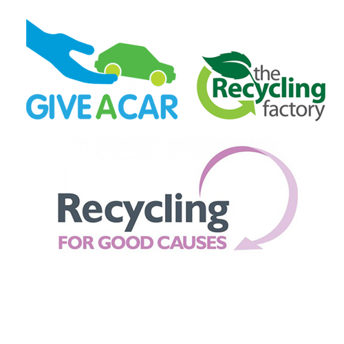 Logos for Give-a-car, Recycling Factory and Recycling for Good Causes