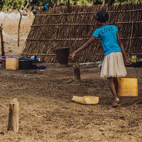 A child fetching water