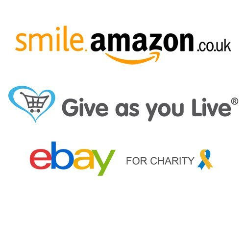 AmazonSmile, Give as you Live and eBay logos