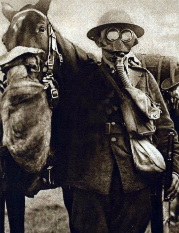 Horse and soldier in gas masks