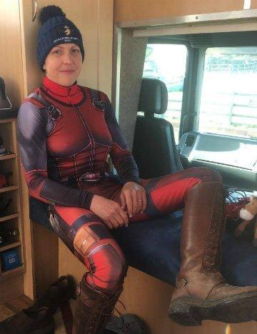 Jen Olivier dressed as Deadpool