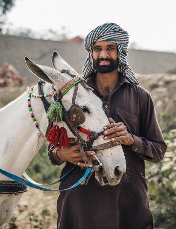 Muhammad and his horse Moti in Pakistan