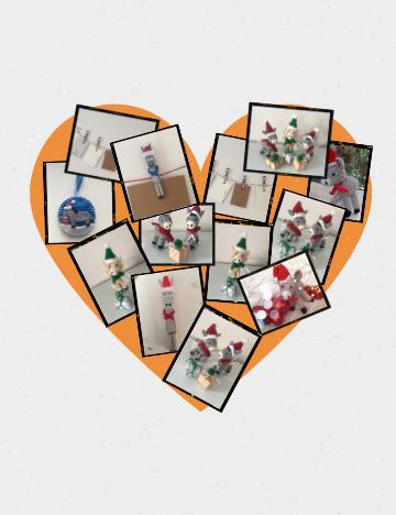 Polaroid heart shaped photo collage
