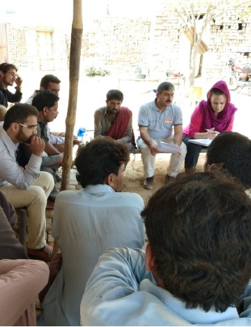Focus group discussion with equid owners in brick kilns to understand challenges and opportunities for improving equid welfare as part of Brooke Pakistan's community needs assessment to inform effective project planning