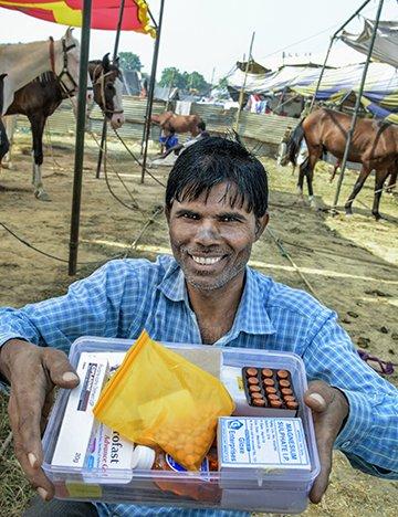 Bundan Ali, Association member who makes and sells first aid kits to equine fairs and brick kilns
